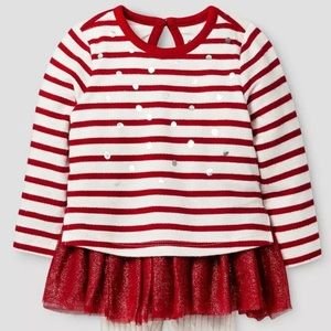 Cat & Jack Baby Girl Newborn Red Striped Shirt